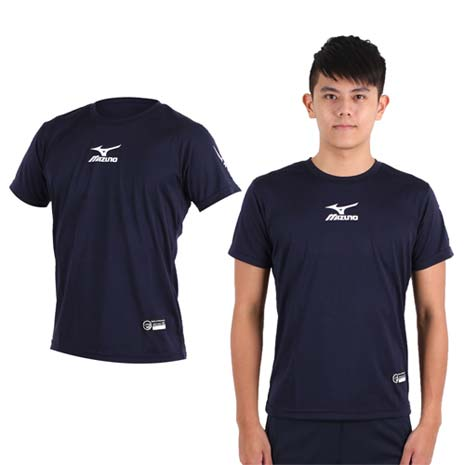 【MIZUNO】男排球短袖上衣-慢跑 路跑 T恤  眼鏡王 美津濃 丈青白