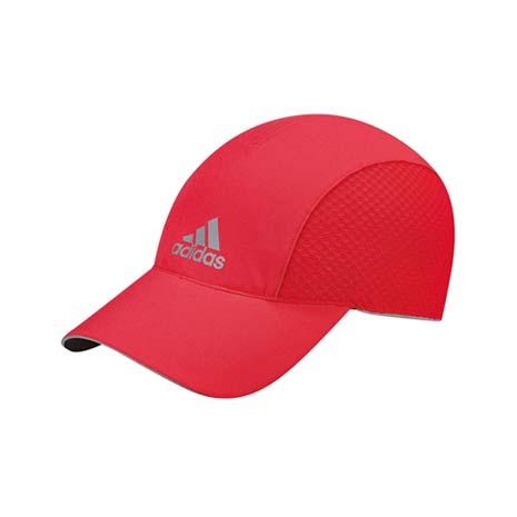 【ADIDAS】女排汗慢跑帽 -路跑 帽子 扁帽 鴨舌帽 防曬 愛迪達 紅銀