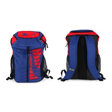 【PUMA】DECK 後背包 -雙肩包 肩背包 18吋筆電 深藍紅
