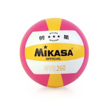 【MIKASA】彩膠排球 MVR260-5號球 桃紅黃