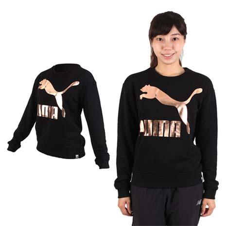 【PUMA】女流行系列GOLD長袖圓領衫-T恤 慢跑 路跑 刷毛 黑玫瑰金
