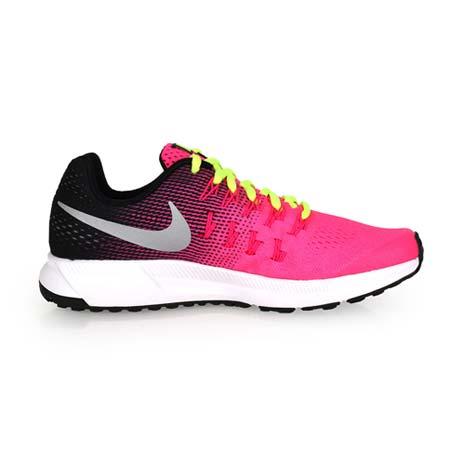 【NIKE】ZOOM PEGASUS 33 -GS 女慢跑鞋 - 路跑 粉紅螢光黃