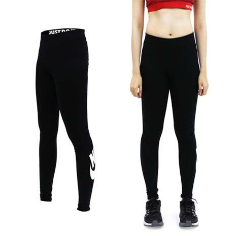 【NIKE】女彈力長褲-緊身長褲 慢跑 路跑 黑白