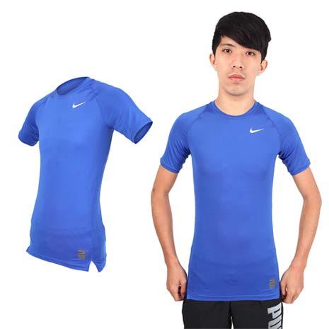 【NIKE】PRO 男短袖T恤-路跑 慢跑 健身 重訓 短袖緊身衣 藍白