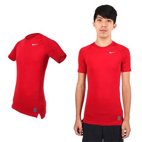 【NIKE】PRO 男短袖T恤-路跑 慢跑 健身 重訓 短袖緊身衣 紅白