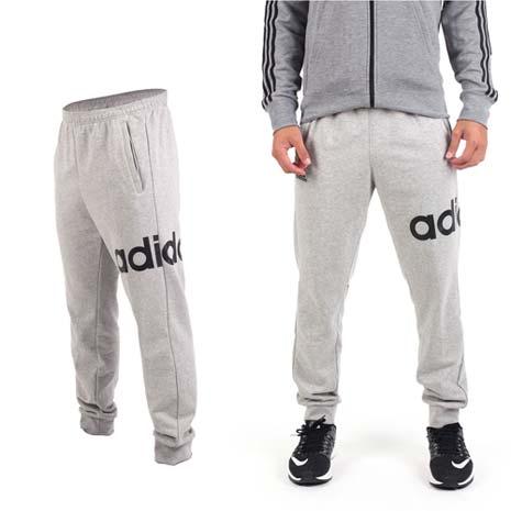 【ADIDAS】男運動長褲-刷毛 路跑 慢跑 愛迪達 灰黑