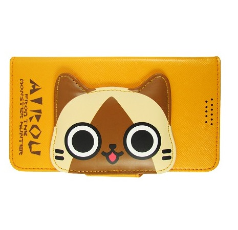 AIROU 艾路貓大頭款側翻皮套 Sony Xperia Z Ultra C6802 -橘 +【Hoobbe】口香糖造型立架-綠/粉紅