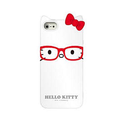 日本GD iPhone5/5S/SE Hello Kitty 眼鏡立體蝶結背蓋-白 +【LOVE】愛心桌上收納座 紅/粉