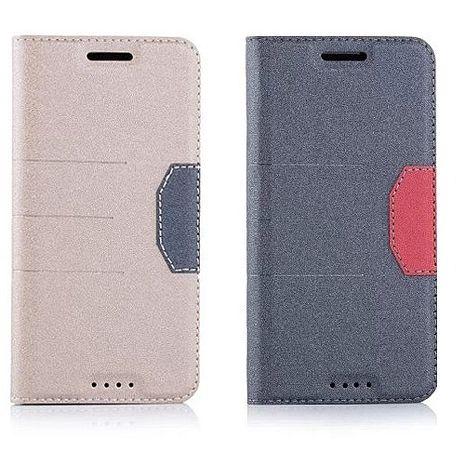 繽紛撞色側翻皮套-HTC One M9 Plus 金 +【Hoobbe】口香糖造型立架-綠/粉紅