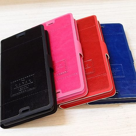 Dapad超薄新穎後扣式側掀皮套-iPhone6/6S 紅色 +【Driinn】時尚手機充電架掛座-橘/綠/藍/粉/黑