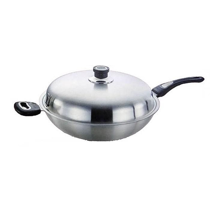 OSAMA王樣極緻316不鏽鋼原味炒菜鍋單把36cm鍋耳一體成型