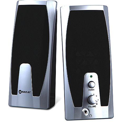 NAKAY銀黑USB多媒體兩件式擴大音箱喇叭(S-26)
