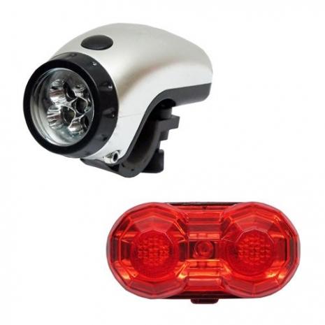 自行車防水三段車尾燈5+3LED頭燈組(HY-7)