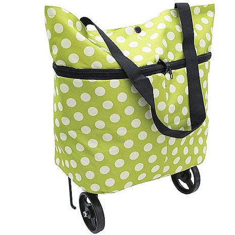 月陽時尚圓點可肩背手拉兩用滾輪摺疊收納購物袋(CL03).