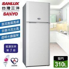 【台灣三洋 SANLUX】310公升一級雙門定頻冰箱/銀灰(SR-A310B)