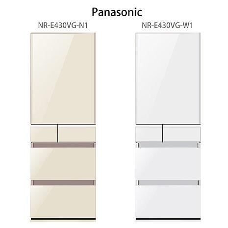 【Panasonic.國際牌】日本進口ECONAVI.430L五門變頻電冰箱/翡翠白(NR-E430VG)
