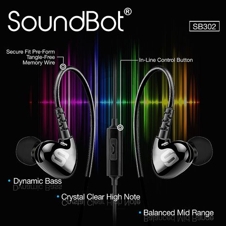 美國聲霸SoundBot SB302 運動防汗超重低音型入耳+耳掛式耳機