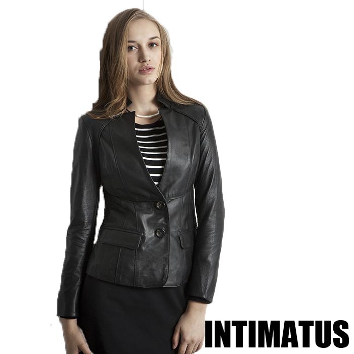 INTIMATUS 獨特剪裁立領西裝款小羊皮皮衣外套