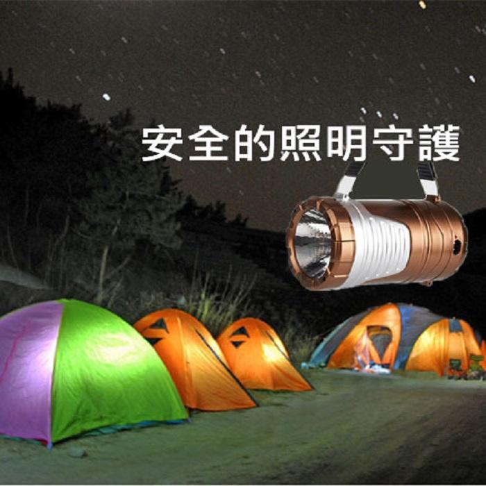太陽能多功能超亮露營燈+手電筒