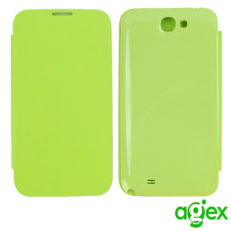 【AGEX】Samsung Galaxy Note2 專用電池背蓋側掀式皮套- 綠色N2BC-G