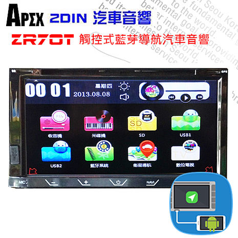 APEX ZR70T 2DIN 手機連動版藍芽導航電阻式觸控汽車音響-PAPAGO S1圖資系統