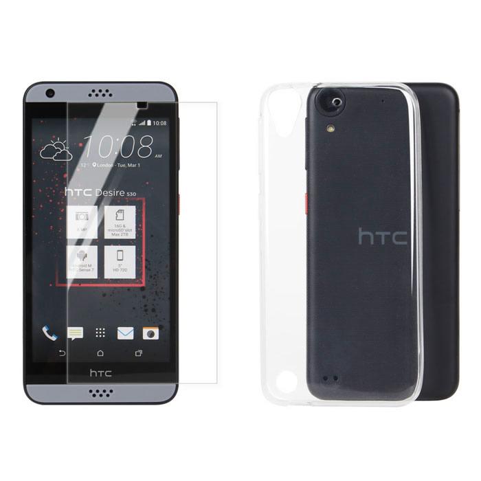 【Myshell】HTC Desire 530 極致超薄保護殼+鋼化玻璃保護貼-2合1組