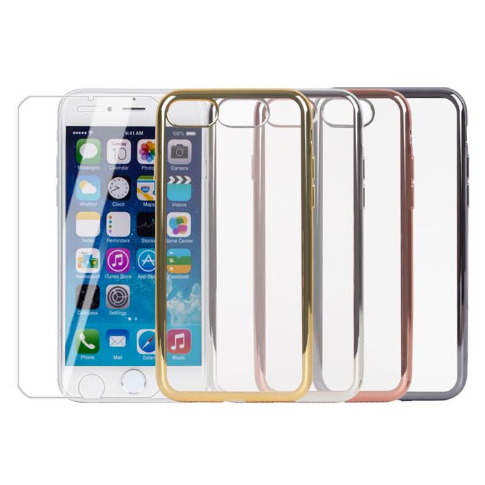 MyshellApple iPhone7炫彩電鍍保護殼+鋼化玻璃保護貼-2合一組
