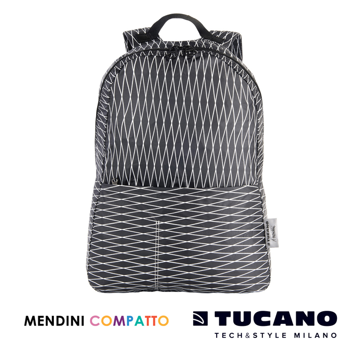 TUCANO X MENDINI 設計師系列超輕量折疊收納後背包- 黑