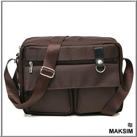 MAKSIM都會搖滾潮流雙口袋側背包可放A4(咖)