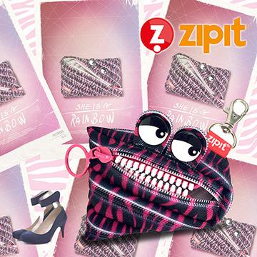 ZIPIT 怪獸塗鴉拉鍊包(小)-班馬粉