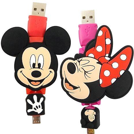 【Disney】 Micro USB 造型伸縮傳輸線-米奇/米妮