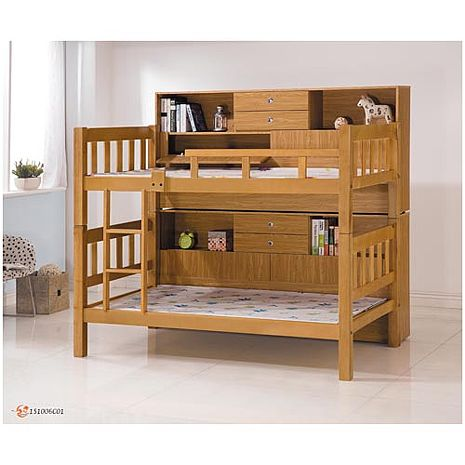 書架型3.5尺雙層床