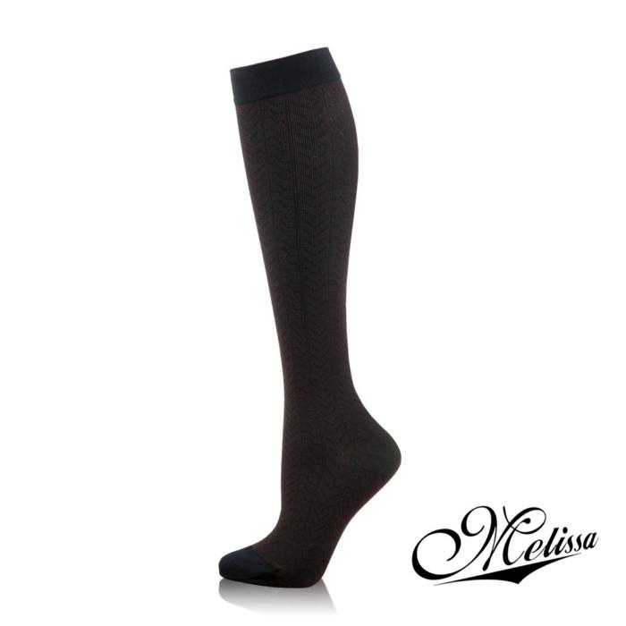《Melissa 魅莉莎》醫療級時尚彈性襪─小腿襪(魅力黑)