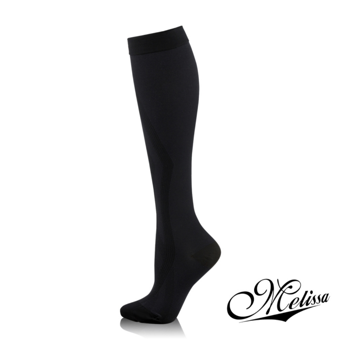 《Melissa 魅莉莎》醫療級時尚彈性襪─小腿襪(典雅黑)