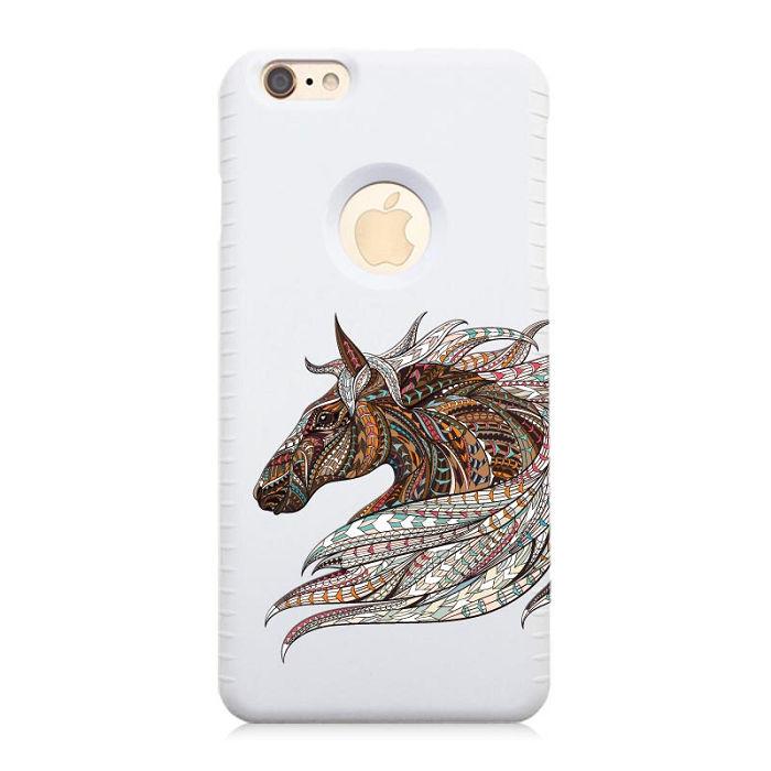 iPhone 6S/6 Plus (5.5吋) 中台日專利悠遊卡手機殼+3D立體浮雕列印,烏騅寶馬-雪狐白 鏤空