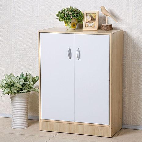 Homelike 簡約二門收納鞋櫃(楓木+白)