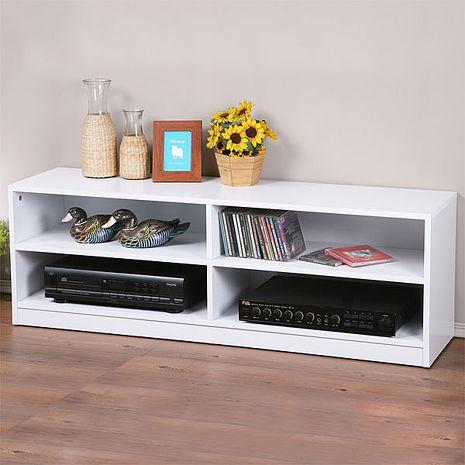 Homelike 個性時尚四格電視櫃-純白色