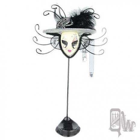 【QUEENWOODS】[飾品架]水鑽 玫瑰帽 面具-雙色 銀粉 鴛鴦蝴蝶夢(首飾架/戒指架/項鍊架/耳環架/飾品架/吊飾架)