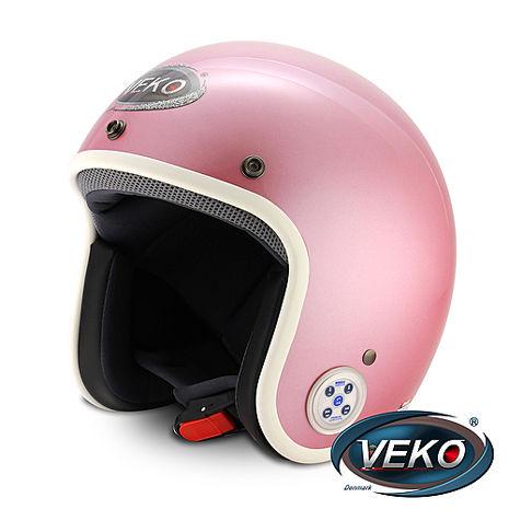 VEKO藍芽4.0立體聲復古安全帽(BTS-C1消光粉紅)