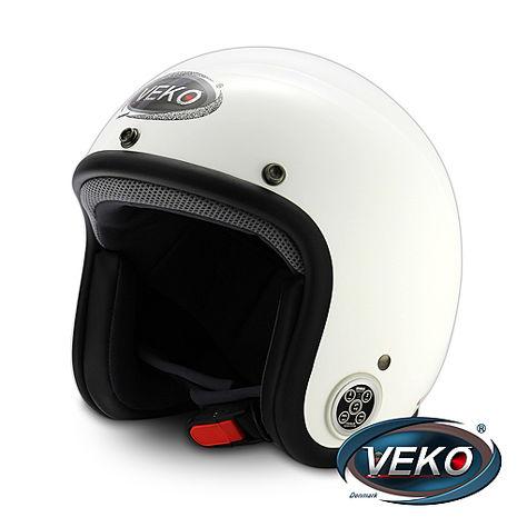 VEKO藍芽4.0立體聲復古安全帽(BTS-C2珠光白)