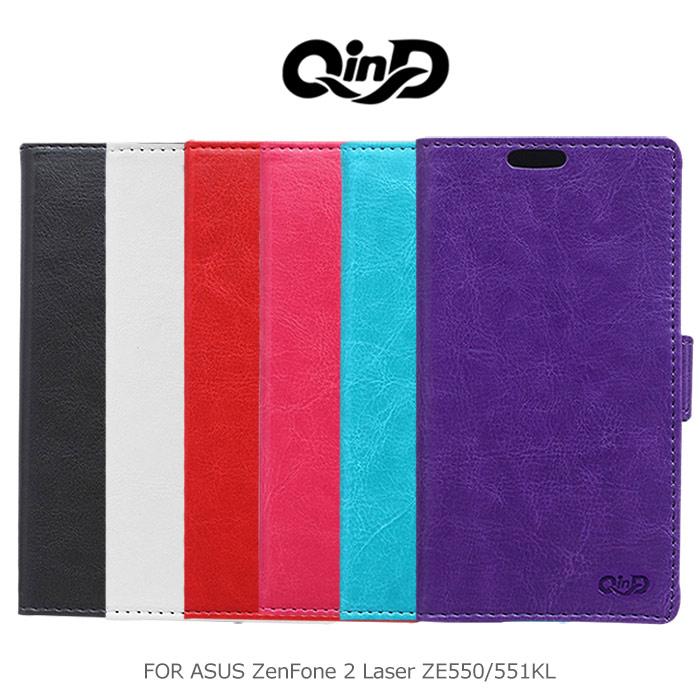 QinD ASUS ZenFone 2 Laser ZE550 / 551KL 5.5吋 水晶帶扣插卡皮套