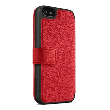 Belkin iPhone5 皮夾式保護套 紅