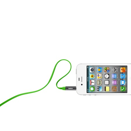 Belkin 3.5mm 多彩 直插頭 立體聲 扁平線綠色