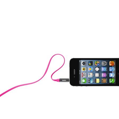 Belkin 3.5mm 多彩 直插頭 立體聲 扁平線粉紅色
