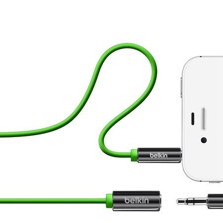 Belkin 3.5mm 公母 音源延長線 iPhone iPod 綠色