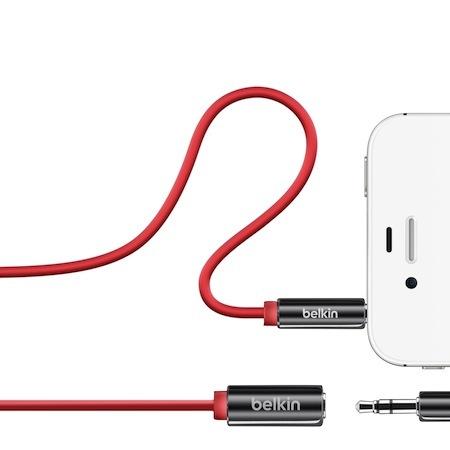 Belkin 3.5mm 公母 音源延長線 iPhone iPod 紅色