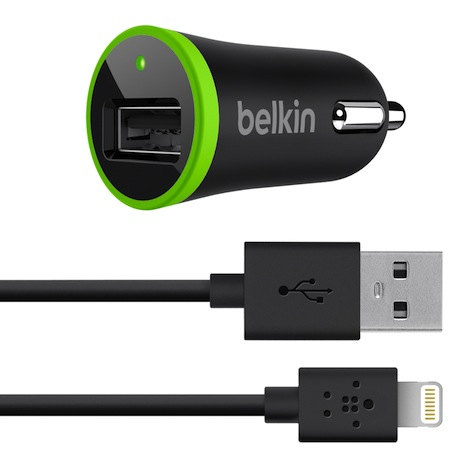 Belkin 迷你 車充 + Lightning 轉接線 for iPhone 5黑色