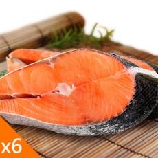 來自阿拉斯加無汙染的深海~沛鮮~阿拉斯加厚切野生鮭魚輪切6片^(300g片^)