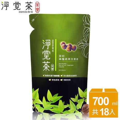 茶寶 淨覺茶 茶籽碗盤蔬果洗潔液補充包18入組