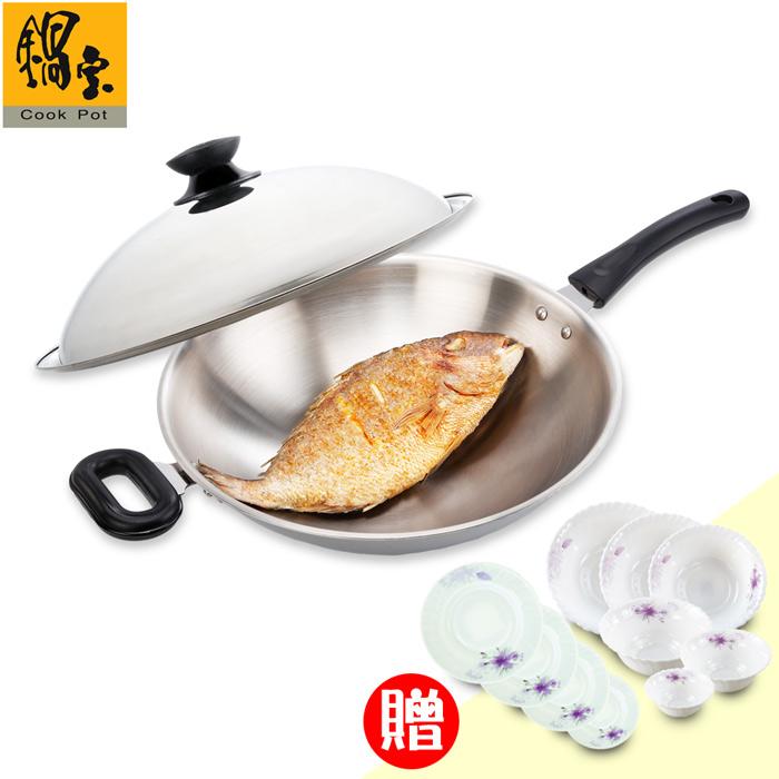 《鍋寶》#304不鏽鋼炒鍋送強化餐具10件超值組 EO-SS36SBLHKW6SBXTP4